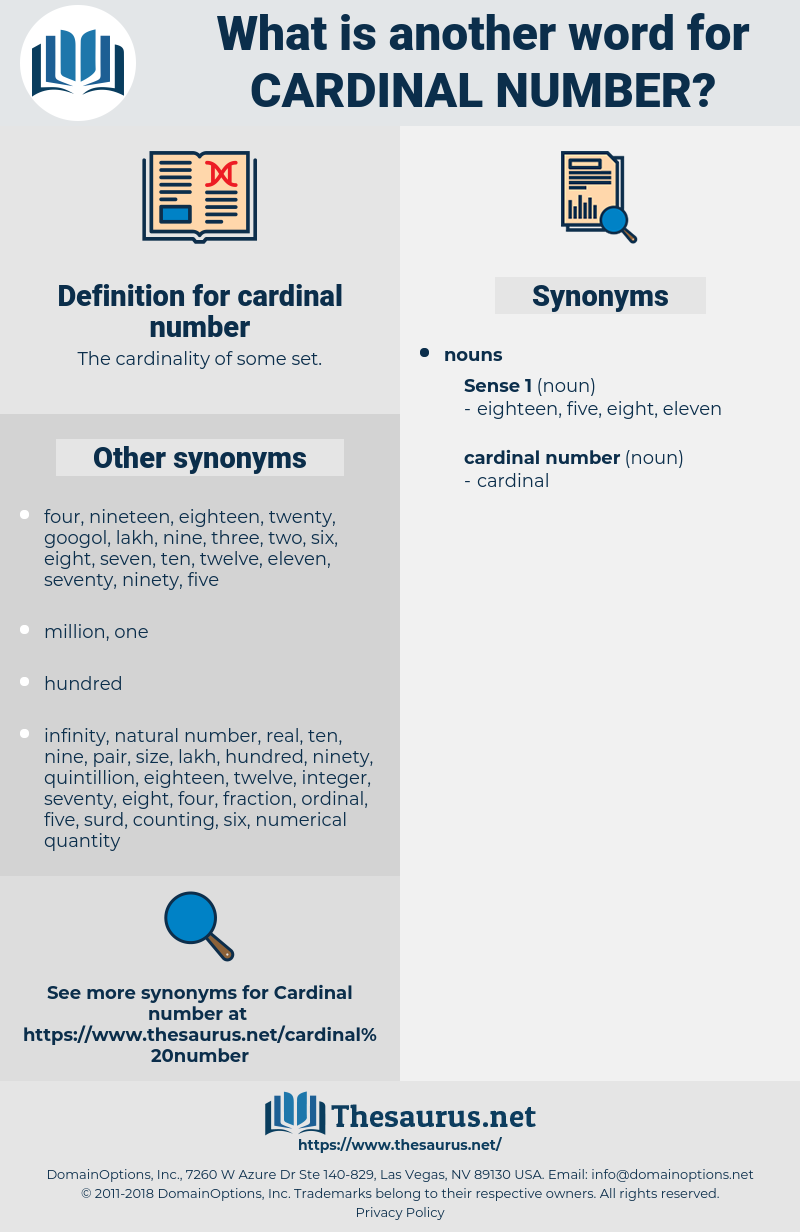 cardinal number, synonym cardinal number, another word for cardinal number, words like cardinal number, thesaurus cardinal number