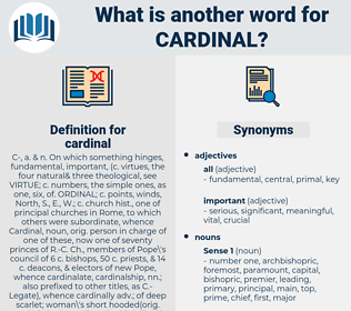 cardinal, synonym cardinal, another word for cardinal, words like cardinal, thesaurus cardinal