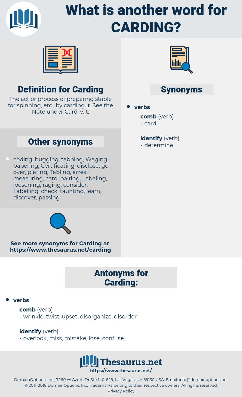 Carding, synonym Carding, another word for Carding, words like Carding, thesaurus Carding