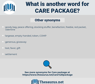 care package, synonym care package, another word for care package, words like care package, thesaurus care package