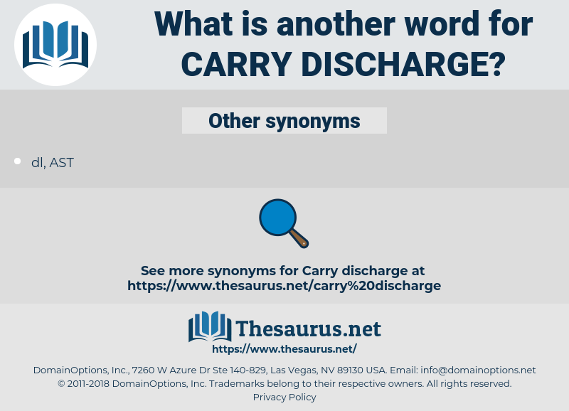 carry discharge, synonym carry discharge, another word for carry discharge, words like carry discharge, thesaurus carry discharge