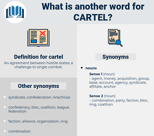 cartel, synonym cartel, another word for cartel, words like cartel, thesaurus cartel