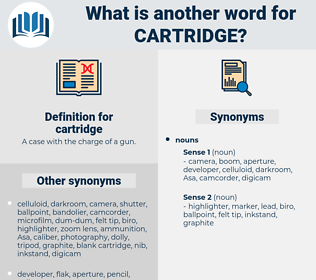 cartridge, synonym cartridge, another word for cartridge, words like cartridge, thesaurus cartridge