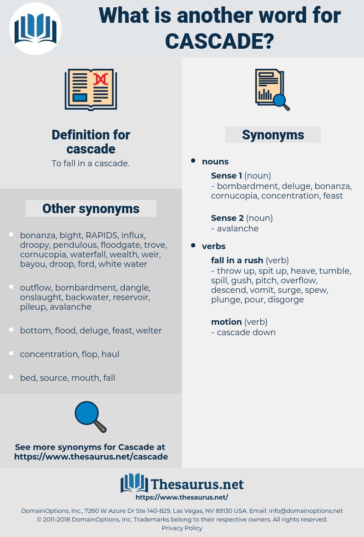 cascade, synonym cascade, another word for cascade, words like cascade, thesaurus cascade