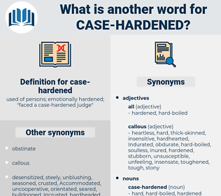 case hardened, synonym case hardened, another word for case hardened, words like case hardened, thesaurus case hardened
