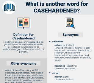 Casehardened, synonym Casehardened, another word for Casehardened, words like Casehardened, thesaurus Casehardened