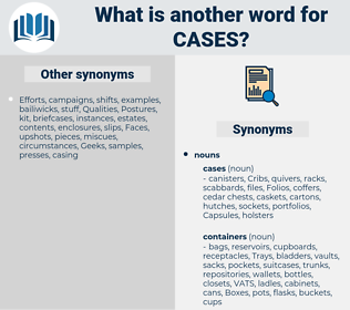 cases, synonym cases, another word for cases, words like cases, thesaurus cases