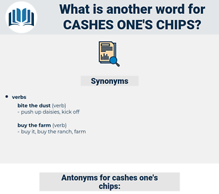 cashes one's chips, synonym cashes one's chips, another word for cashes one's chips, words like cashes one's chips, thesaurus cashes one's chips