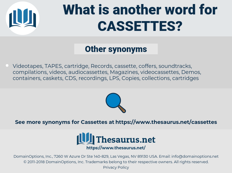 cassettes, synonym cassettes, another word for cassettes, words like cassettes, thesaurus cassettes