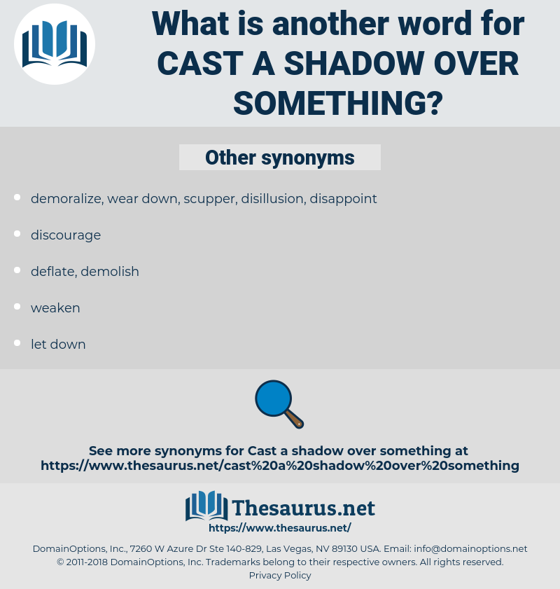 cast a shadow over something, synonym cast a shadow over something, another word for cast a shadow over something, words like cast a shadow over something, thesaurus cast a shadow over something
