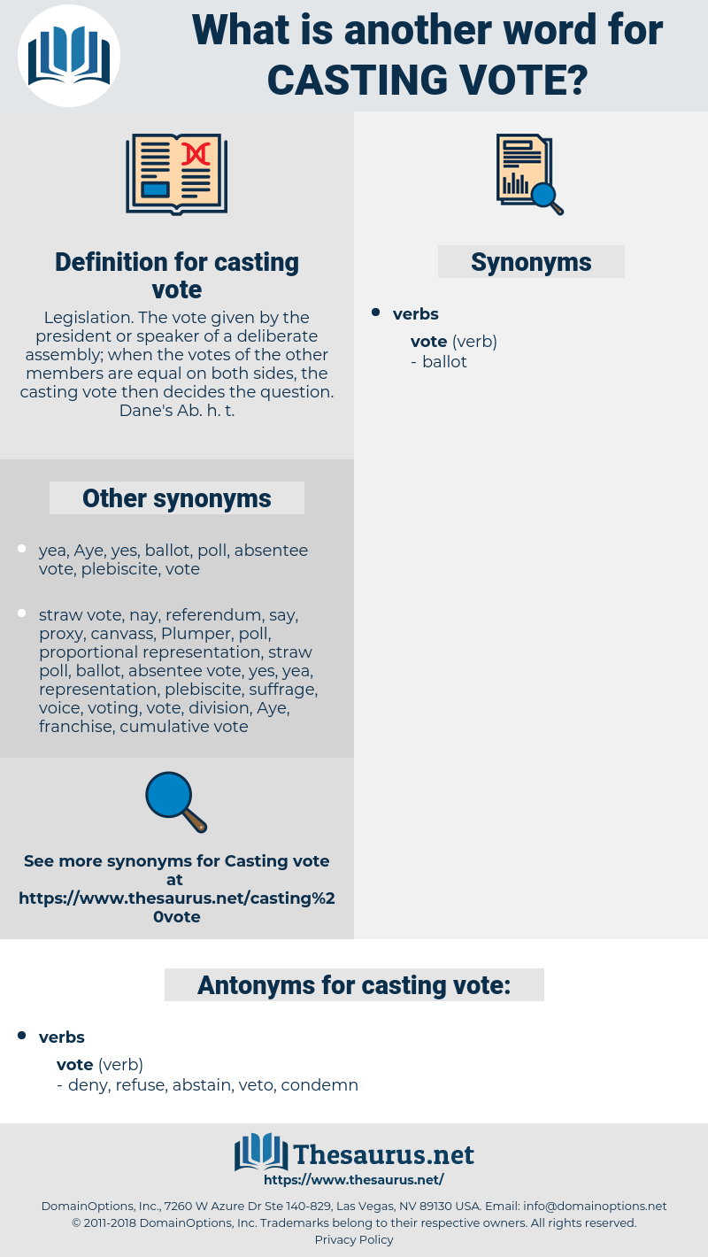 casting vote, synonym casting vote, another word for casting vote, words like casting vote, thesaurus casting vote