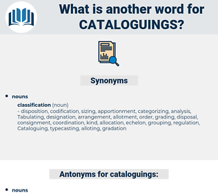 cataloguings, synonym cataloguings, another word for cataloguings, words like cataloguings, thesaurus cataloguings