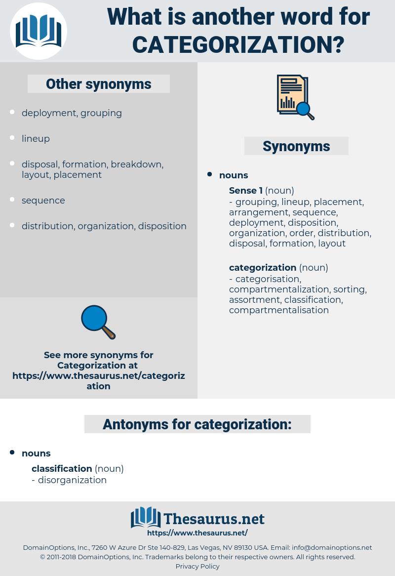 categorization, synonym categorization, another word for categorization, words like categorization, thesaurus categorization