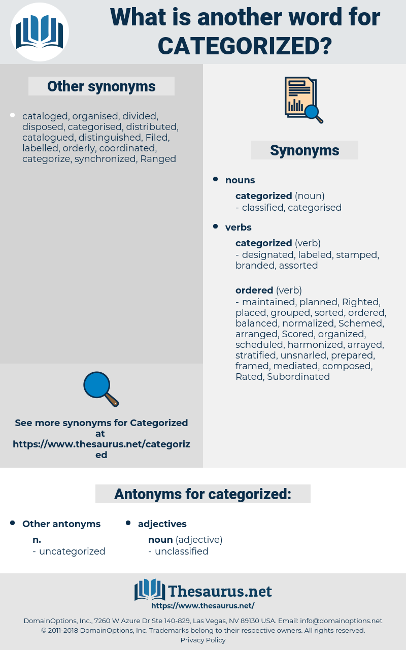 categorized, synonym categorized, another word for categorized, words like categorized, thesaurus categorized