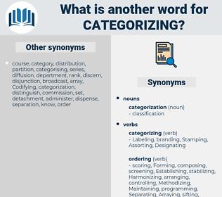categorizing, synonym categorizing, another word for categorizing, words like categorizing, thesaurus categorizing