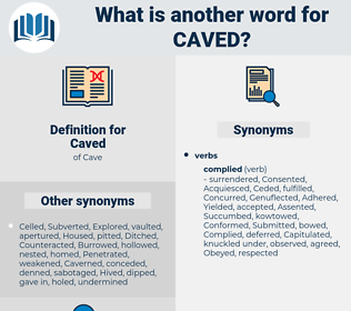 Caved, synonym Caved, another word for Caved, words like Caved, thesaurus Caved