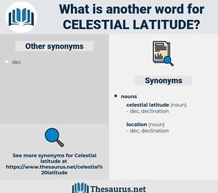 celestial latitude, synonym celestial latitude, another word for celestial latitude, words like celestial latitude, thesaurus celestial latitude
