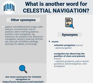 celestial navigation, synonym celestial navigation, another word for celestial navigation, words like celestial navigation, thesaurus celestial navigation