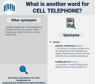cell telephone, synonym cell telephone, another word for cell telephone, words like cell telephone, thesaurus cell telephone