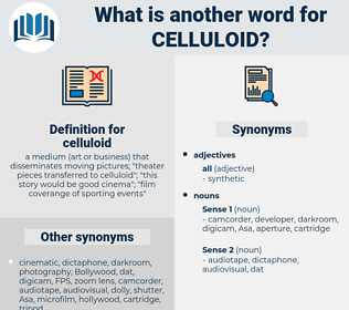 celluloid, synonym celluloid, another word for celluloid, words like celluloid, thesaurus celluloid
