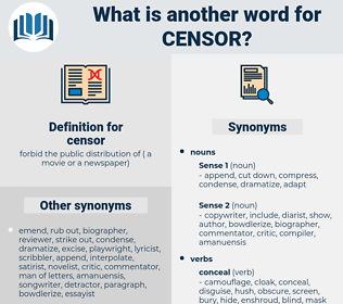 censor, synonym censor, another word for censor, words like censor, thesaurus censor