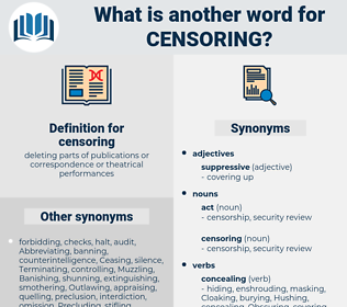 censoring, synonym censoring, another word for censoring, words like censoring, thesaurus censoring