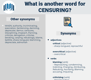 Censuring, synonym Censuring, another word for Censuring, words like Censuring, thesaurus Censuring