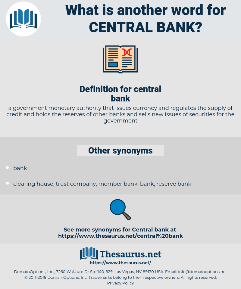 central bank, synonym central bank, another word for central bank, words like central bank, thesaurus central bank