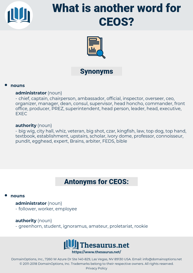 CEOS, synonym CEOS, another word for CEOS, words like CEOS, thesaurus CEOS