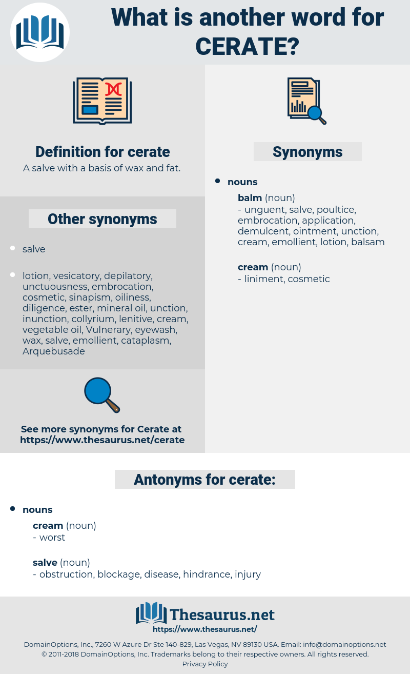 cerate, synonym cerate, another word for cerate, words like cerate, thesaurus cerate