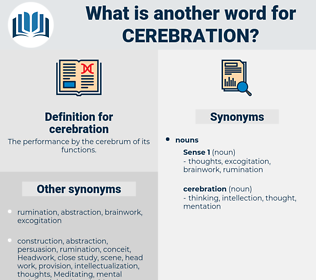 cerebration, synonym cerebration, another word for cerebration, words like cerebration, thesaurus cerebration