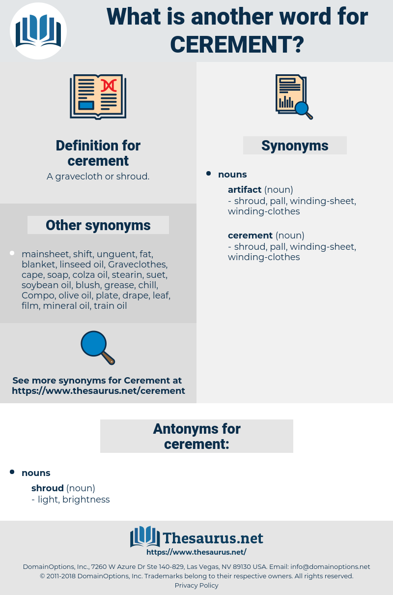 cerement, synonym cerement, another word for cerement, words like cerement, thesaurus cerement
