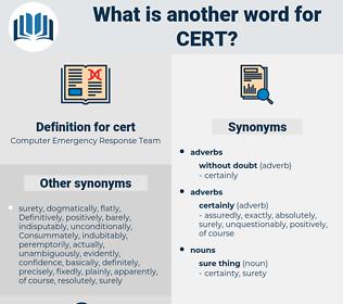 cert, synonym cert, another word for cert, words like cert, thesaurus cert
