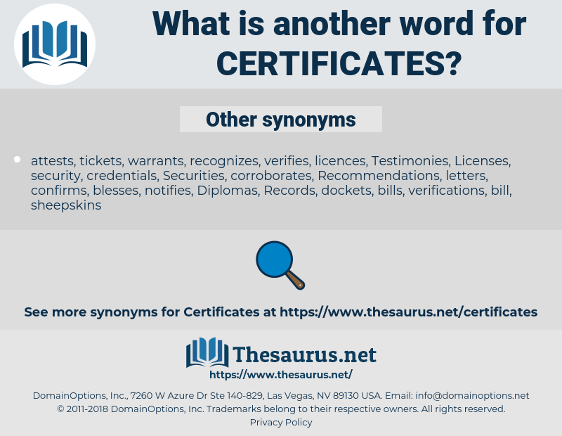 certificates, synonym certificates, another word for certificates, words like certificates, thesaurus certificates