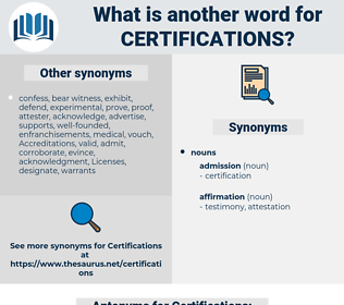 Certifications, synonym Certifications, another word for Certifications, words like Certifications, thesaurus Certifications