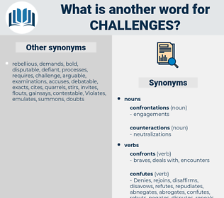challenges, synonym challenges, another word for challenges, words like challenges, thesaurus challenges