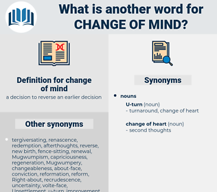change of mind, synonym change of mind, another word for change of mind, words like change of mind, thesaurus change of mind