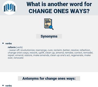 change ones ways, synonym change ones ways, another word for change ones ways, words like change ones ways, thesaurus change ones ways