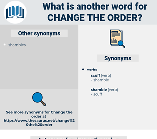 change the order, synonym change the order, another word for change the order, words like change the order, thesaurus change the order