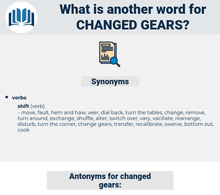changed gears, synonym changed gears, another word for changed gears, words like changed gears, thesaurus changed gears