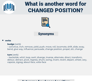 changed position, synonym changed position, another word for changed position, words like changed position, thesaurus changed position