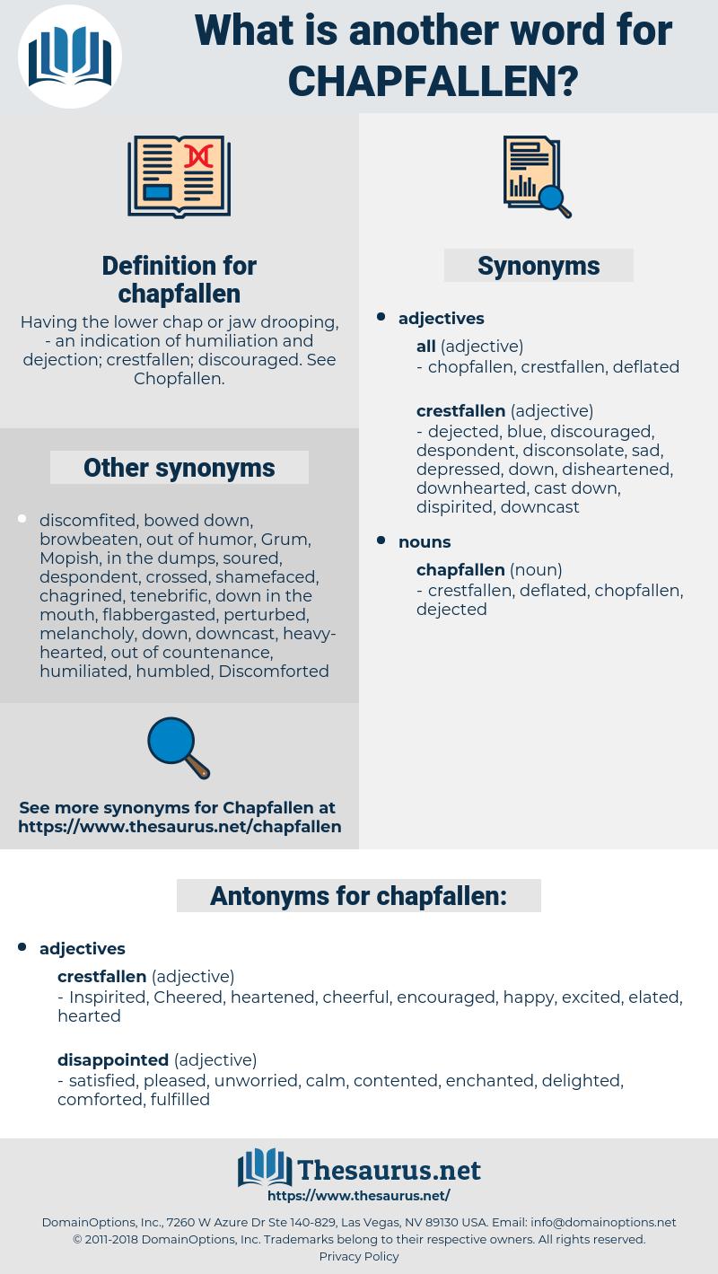 chapfallen, synonym chapfallen, another word for chapfallen, words like chapfallen, thesaurus chapfallen