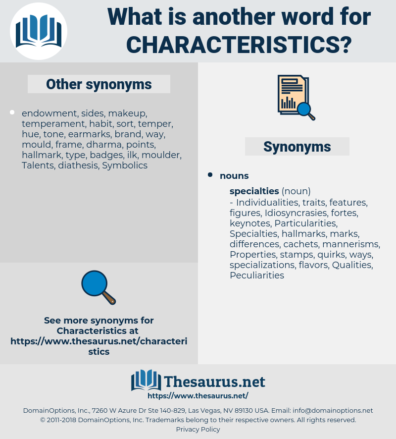 characteristics, synonym characteristics, another word for characteristics, words like characteristics, thesaurus characteristics