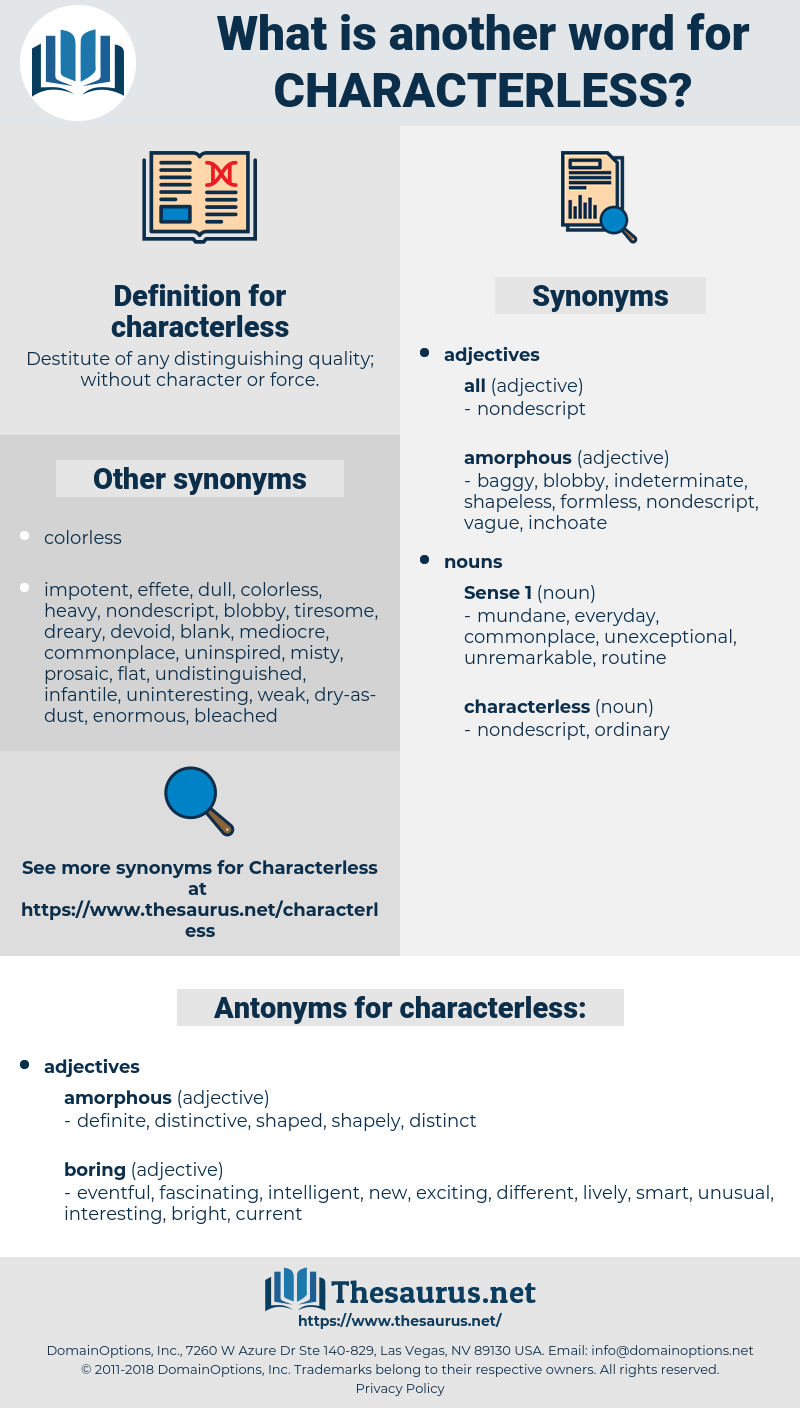 characterless, synonym characterless, another word for characterless, words like characterless, thesaurus characterless