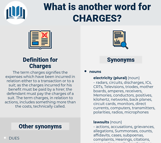 Charges, synonym Charges, another word for Charges, words like Charges, thesaurus Charges