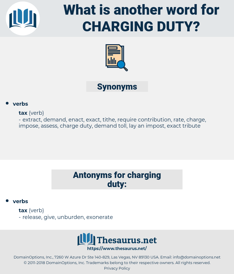 charging duty, synonym charging duty, another word for charging duty, words like charging duty, thesaurus charging duty