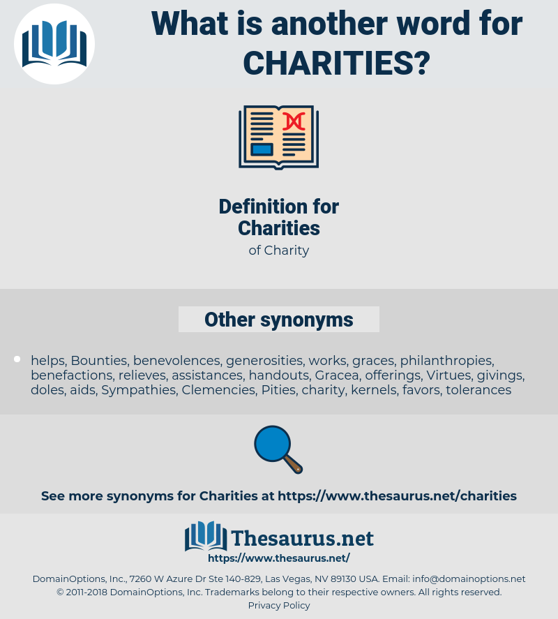 Charities, synonym Charities, another word for Charities, words like Charities, thesaurus Charities