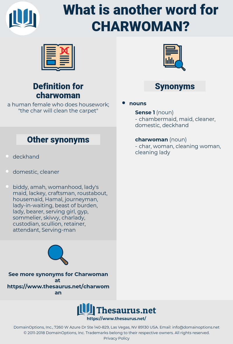 charwoman, synonym charwoman, another word for charwoman, words like charwoman, thesaurus charwoman