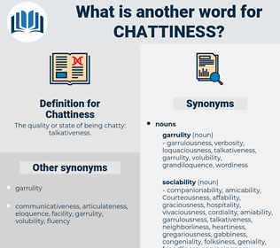 Chattiness, synonym Chattiness, another word for Chattiness, words like Chattiness, thesaurus Chattiness