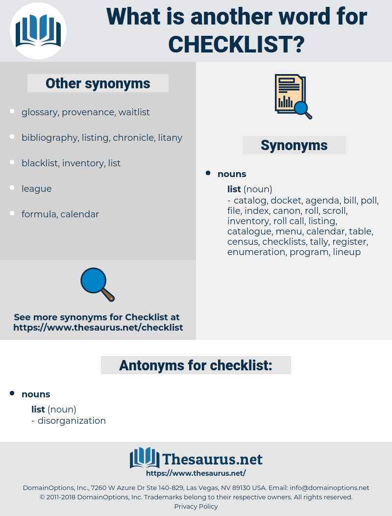 Synonyms for CHECKLIST, Antonyms for CHECKLIST - Thesaurus net